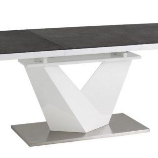 Jídelní stůl ALARAS II rozkládací 140x85, černé sklo/bílá