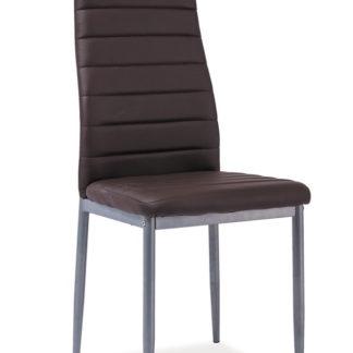 Jídelní čalouněná židle H-261 Bis, hnědá/alu