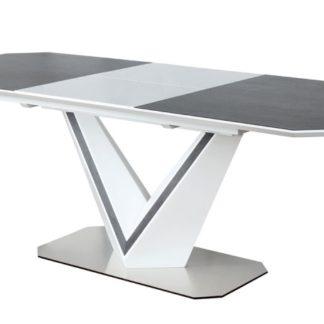 Jídelní stůl rozkládací VALERIO CERAMIC, šedá/bílý mat