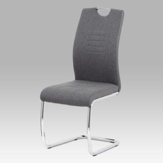 Jídelní židle DCL-405 GREY2, šedá látka/ekokůže/chrom