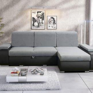 Rohová sedačka MILAN 1 univerzální roh, světle šedá látka/černá ekokůže