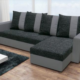 Rohová sedačka PRAGA, černá látka/šedá ekokůže