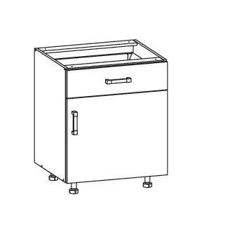 SOLE dolní skříňka D1S 60 SMARTBOX pravá, korpus wenge, dvířka bílý lesk