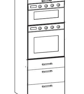 SOLE vysoká skříň DPS60/207 SAMBOX O, korpus šedá grenola, dvířka dub arlington