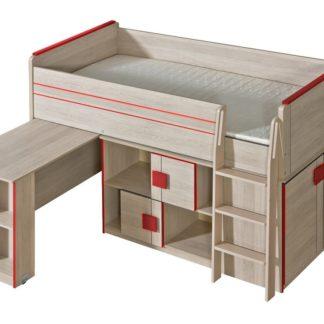 GIMMI, patrová postel komplet G19, dub santana/červená