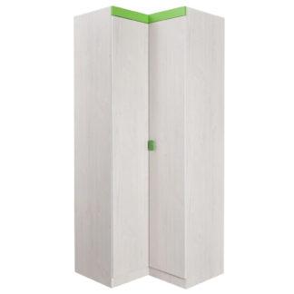 NUMERO SKŘÍŇ ROHOVÁ, dub bílý / zelená