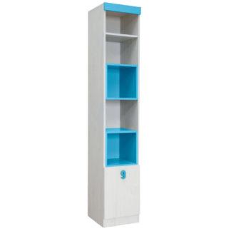 NUMERO VITRINA 1V, dub bílý / modrá
