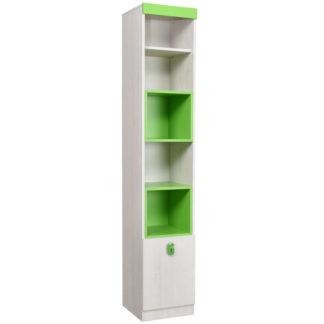 NUMERO VITRINA 1V, dub bílý / zelená