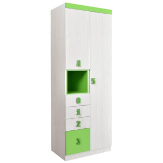 NUMERO SKŘÍŇ O2V4F, dub bílý / zelená