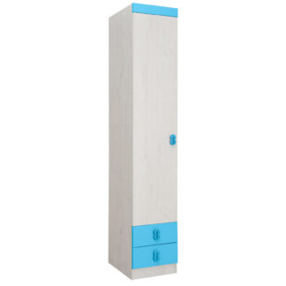 NUMERO SKŘÍŇ O1V2F, dub bílý / modrá