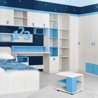 NUMERO dětský pokoj - vzorová sestava, dub bílý/modrá