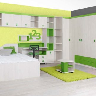 NUMERO dětský pokoj - vzorová sestava, dub bílý/zelená