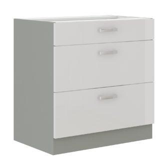 BIANKA, skříňka dolní 80 D 3S BB, šedá / bílý lesk