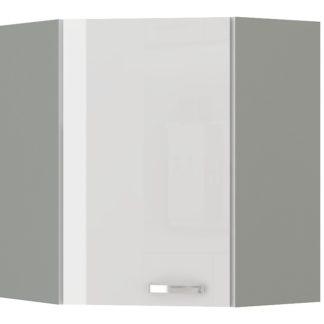 BIANKA, skříňka horní rohová 59/59 cm, 60/60 NAR G-72, šedá / bílý lesk