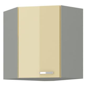 KARMEN, skříňka horní rohová 58,5/58,5 cm, 60/60 NAR G-72, šedá / krémový lesk