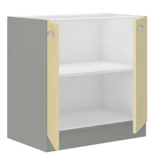 KARMEN, skříňka dolní 80 D 2F BB, šedá / krémový lesk