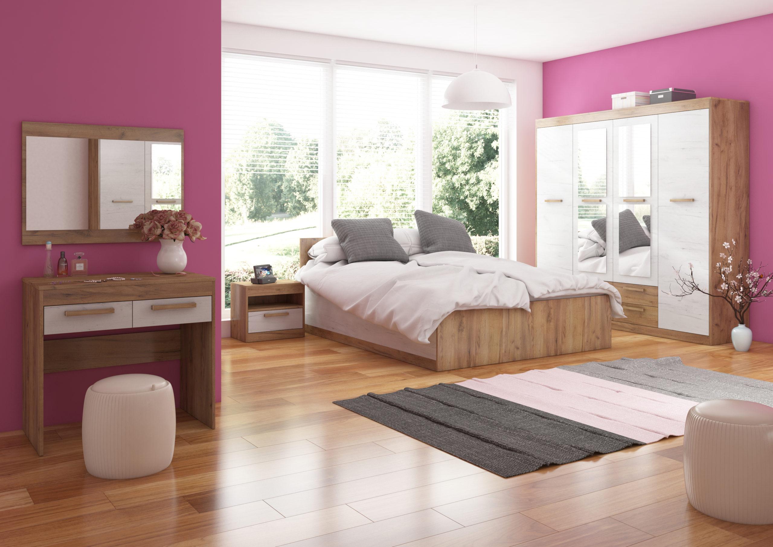 MAXIMUS ložnice 13, craft zlatý/craft bílý