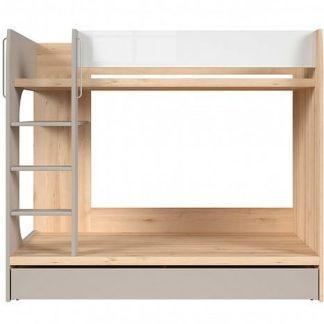 NAMEK patrová postel LOZ1S/90/P, buk iconic/bílý lesk/šedá