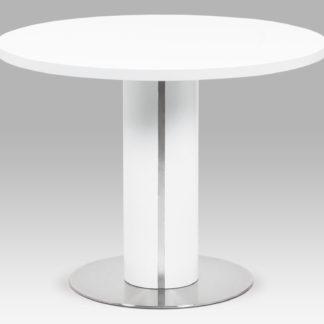 Jídelní stůl pr.100x77, bílá MDF mat, broušený nerez SHT-650 WT