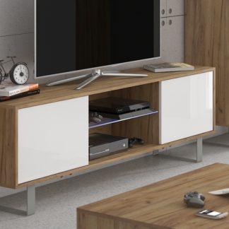 KING 2 TV stolek, craft zlatý/bílý lesk