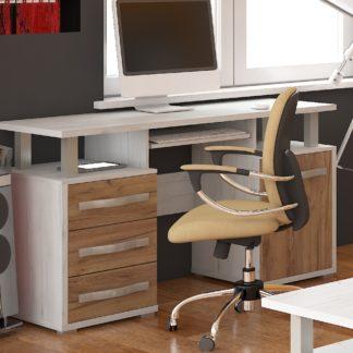ANGEL PC stůl 1D3S, craft bílý/craft zlatý