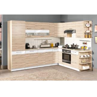 Rohová kuchyně MODENA 290 x 215 cm, buk/bílý lesk