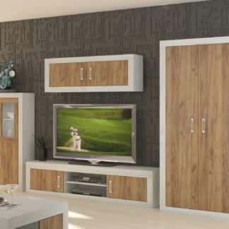 Obývací stěna VERIN 9, craft bílý/craft zlatý