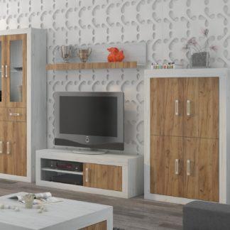 Obývací stěna VERIN 10, craft bílý/craft zlatý