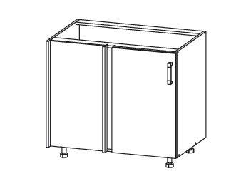 EDAN dolní rohová skříňka DNW 105/82, korpus šedá grenola, dvířka béžová písková