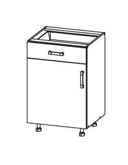 EDAN dolní skříňka D1S 50 SAMBOX, korpus šedá grenola, dvířka dub reveal