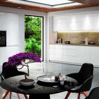 Rohová kuchyně ASPEN 340/180 cm, bílá/bílý lesk