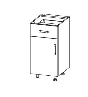 PLATE PLUS dolní skříňka D1S 40 SAMBOX, korpus šedá grenola, dvířka světle šedá