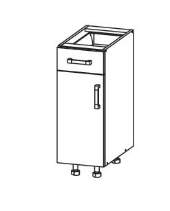 PLATE PLUS dolní skříňka D1S 30 SMARTBOX, korpus šedá grenola, dvířka bílá perlová