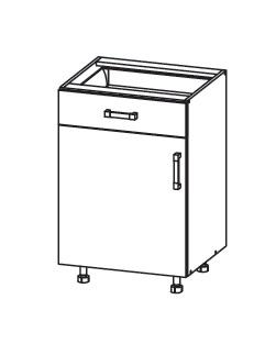 PLATE PLUS dolní skříňka D1S 50 SMARTBOX, korpus bílá alpská, dvířka bílá perlová