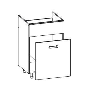 PLATE PLUS dolní skříňka DKS60 SAMBOX pod dřez, korpus šedá grenola, dvířka bílá perlová
