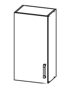 PLATE PLUS horní skříňka G40/72, korpus wenge, dvířka světle šedá
