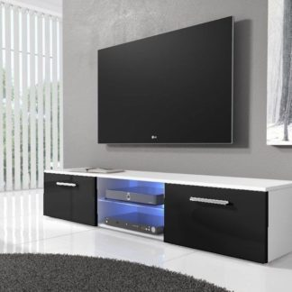 TV stolek RTV 03 s LED, bílá/černý lesk