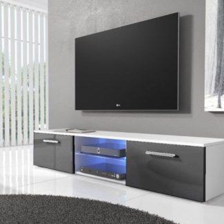 TV stolek RTV 03 s LED, bílá/šedý lesk