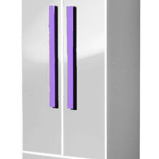 Šatní skříň GULLIWER 1, bílý lesk/fialová