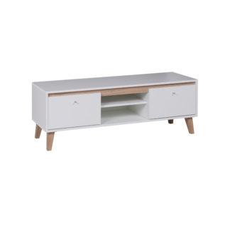 OVIEDO televizní stolek 135 cm, bílá/dub san remo světlý