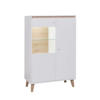 OVIEDO vitrína 90 cm, bílá/dub san remo světlý