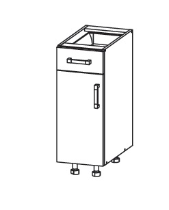 FIORE dolní skříňka D1S 30 SAMBOX, korpus wenge, dvířka bílá supermat