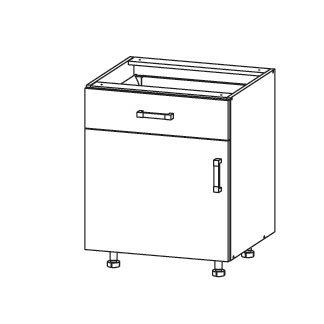 FIORE dolní skříňka D1S 60 SMARTBOX, korpus bílá alpská, dvířka bílá supermat