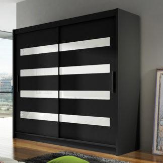 Šatní skříň BEGA XI, černá/zrcadlo