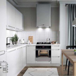 Rohová kuchyně IRIS 285x200/225 cm, korpus bílá alpská, dvířka bílá supermat