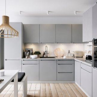Rohová kuchyně IRIS 300x270/240 cm, korpus bílá alpská, dvířka ferro
