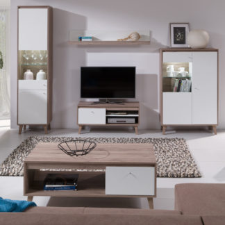 OVIEDO obývací pokoj, dub san remo tmavý/bílá