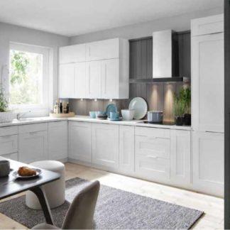 Rohová kuchyně PLATE PLUS 210x420/120 cm, korpus bílá alpská, dvířka bílá perlová