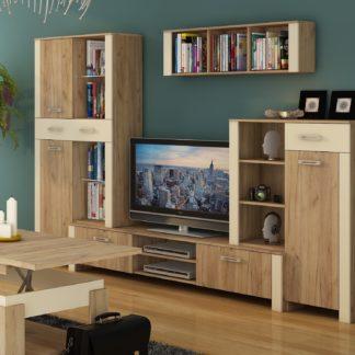 Obývací stěna HUGO 1, craft zlatý/krém