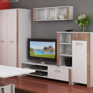Obývací stěna HUGO 3, craft bílý/craft tobaco